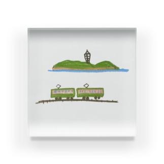 江の島と江の電 Acrylic Block