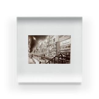 道頓堀色鉛筆画グッズ Acrylic Block