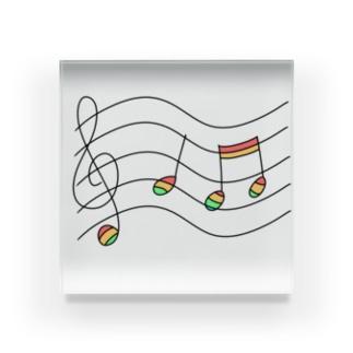 虹の音符たち Acrylic Block