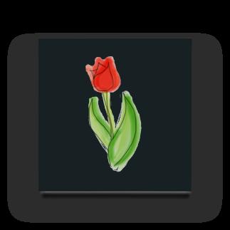 Hinakoの赤いチューリップ、単品で Acrylic Block