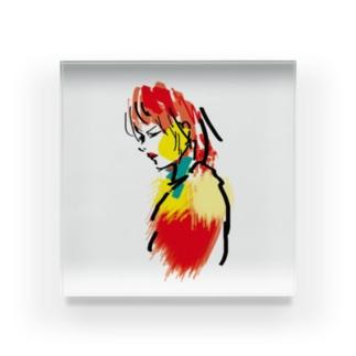 赤リップ Acrylic Block