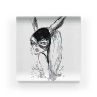 MR rabbit - white Acrylic Block