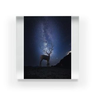 〜宮城の風景〜白鹿と夏の天の川 Acrylic Block