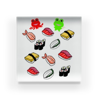 お寿司とカエルくんとたこケロ Acrylic Block