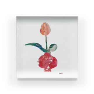 a tulip Acrylic Block