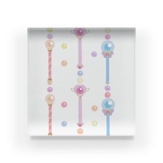 魔法少女のゆめかわステッキ&パステルカラーの魔法玉石~ストライプ~ Acrylic Block