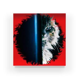 あの猫デビルが見ている Acrylic Block