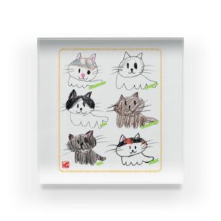 6匹猫【薄枠印】クレヨンイラストS Acrylic Block