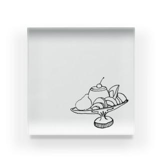 プリン・ア・ラ・モード モノクロ Acrylic Block
