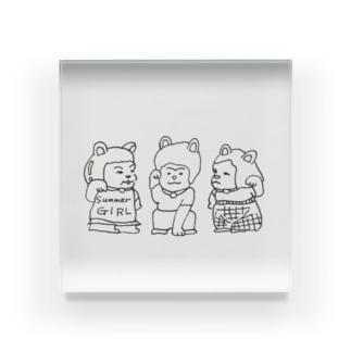 招き猫三姉妹 Acrylic Block
