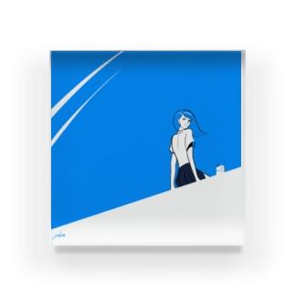 Over Blue Acrylic Block