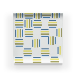 yuruholismの青と黄色の幾何学模様 ブルーとイエロー Acrylic Block