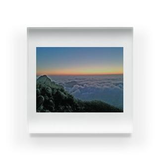 夜明け前 雲海 Acrylic Block