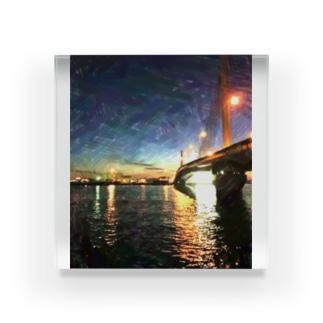 Art Style NEKO28の海と街と繋ぐ橋 Acrylic Block