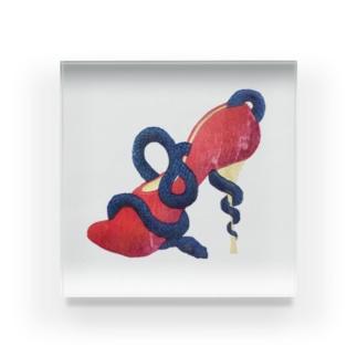ヘビとハイヒールの木版画 Acrylic Block