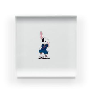 ウサギ ダーク サッカーユニフォーム Acrylic Block