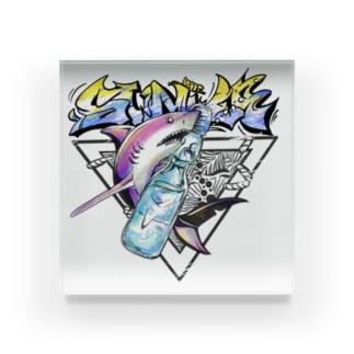 まいてぃーグッズのサメ×ラムネ(白地用) Acrylic Block