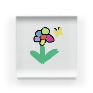 お花とちょうちょさん Acrylic Block
