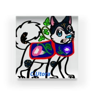 犬はりこ風味の犬とアサガオ  Acrylic Block