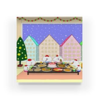 クリスマスパーティーをする猫家族と友達 Acrylic Block