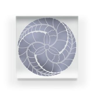 あ!官兵衛(官兵衛と地元をPR!)の藤巴紋(藤色) Acrylic Block