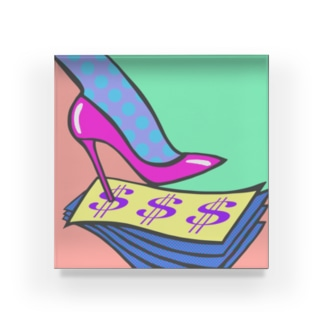 MONEY MONEY MONEY / お金とキャリアとハイヒール Acrylic Block