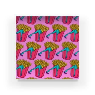 誘惑のフライドポテト🍟 ピンクAO / FRENCH FRIES GULTY PLEASURE Acrylic Block