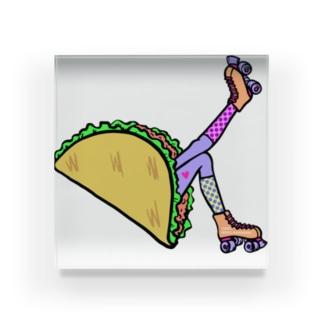 タコス ローラースケート ガール  TACOS ROLLER GIRL DOT 水玉 ドット Tacos Rollerskate Rainbow Acrylic Block