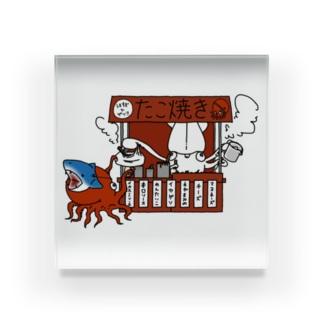 イカのたこ焼き屋さん Acrylic Block