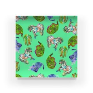 Retoro green & orange with animals Acrylic Block