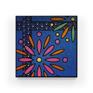 和柄ステンドグラス風(花火×青海波) Acrylic Block