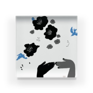 black flower & blue bird Acrylic Block
