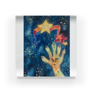 水彩きらきらお星様 Acrylic Block