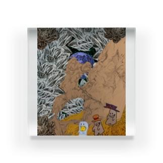 月の上で遊ぶ子どもたち.全部入り Acrylic Block