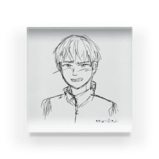 satomimitsukiの照れる少年 ラフ Acrylic Block