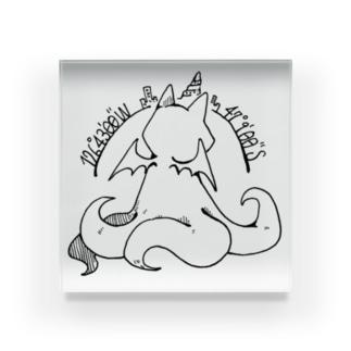ちょぼろうSHOPの冒涜的な猫ルフ(背中色なし) Acrylic Block