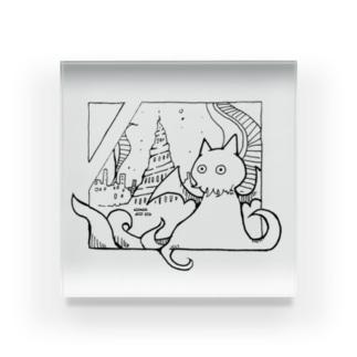 冒涜的な猫ルフ(色なし) Acrylic Block