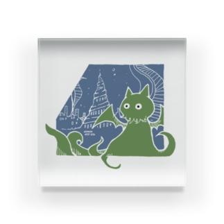 冒涜的な猫ルフ(白線) Acrylic Block