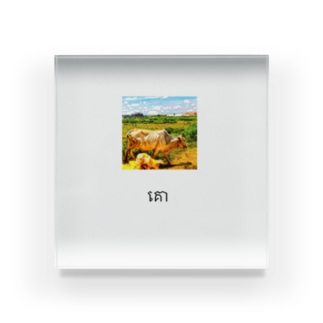カンボジア文字付き牛フォトT Acrylic Block