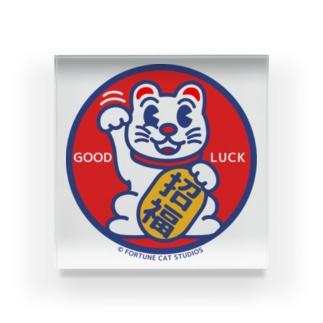 まねき猫ラッキーくん -招福- ロゴシリーズ Acrylic Block