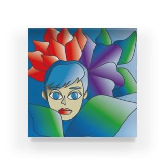 フラワー&ウーマン Acrylic Block