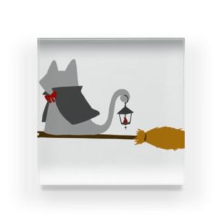 マント猫(箒ランプ) Acrylic Block