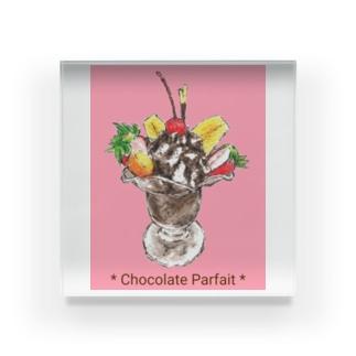 チョコレートパフェ(暖色背景) Acrylic Block