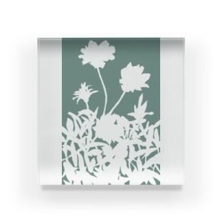 花咲く小径③あお Acrylic Block