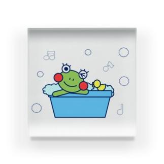 お風呂でのんびりなかえるさん Acrylic Block