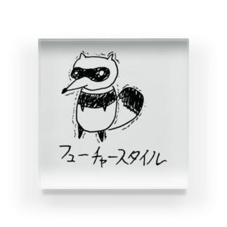 フューチャーなタヌキ【らくがきズム】 Acrylic Block