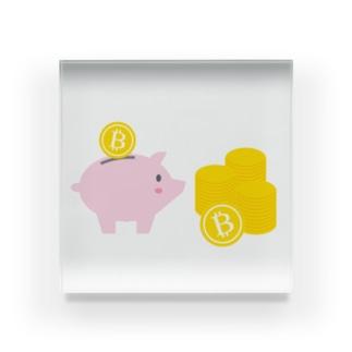 ビットコインと豚の貯金箱 Acrylic Block