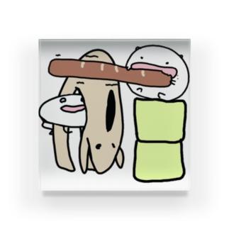 パンはパンでもリンボーダンスも出来るフランスパンはパーンだ!!! Acrylic Block
