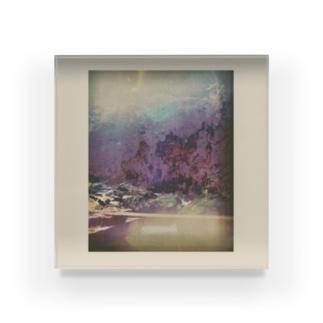 川の透明と光のまる Acrylic Block