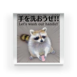 てあらいぐま「手を洗おうぜ!!」 Acrylic Block